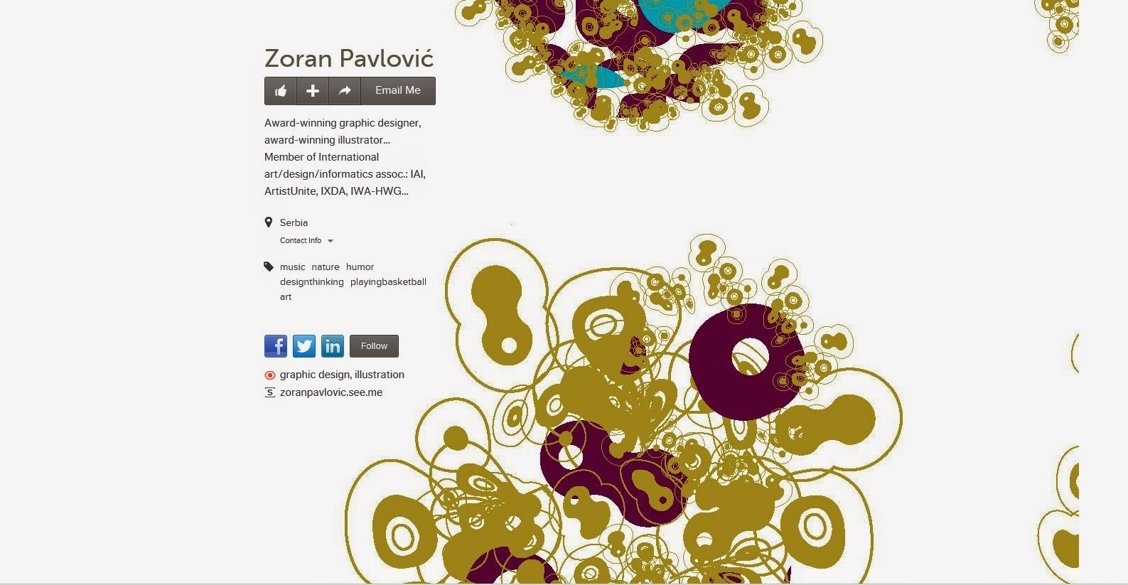 An image of Zoran Pavlović's, Graphic Designer & Illustrator About.me page