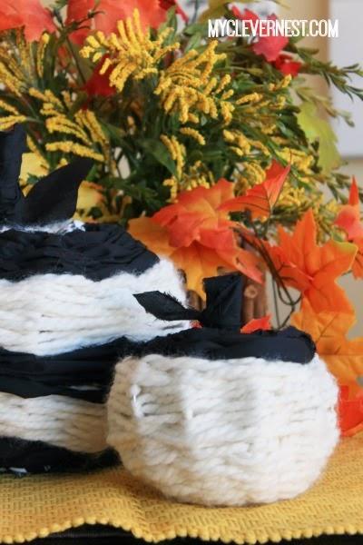 Woven modern pumpkins #DIY4Halloween #JoannFabric #clevernest