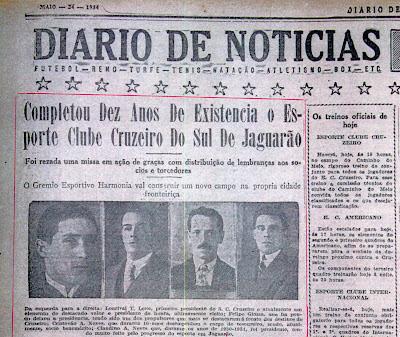 Edição do Diário de Notícias, constante do acervo do Sr. Carlos Alberto Machado Neves, filho do craque cruzeirista Alberto Neves.