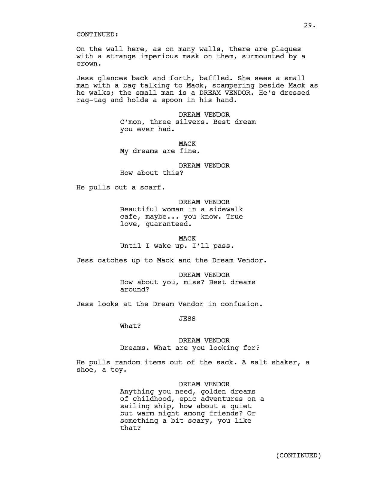 Screenplay Format Reading A Letter