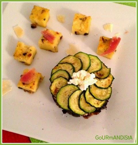 image Rosace de légumes et polenta aux champignons de Paris