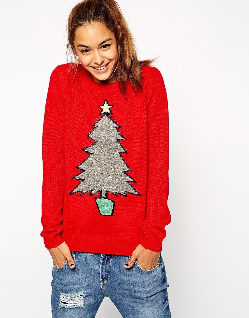 tinsel christmas jumper, red tree jumper,