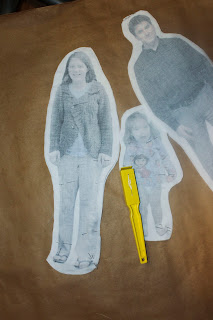 Printed fabric dolls created in Photoshop: cut outs pinned to back of fabric
