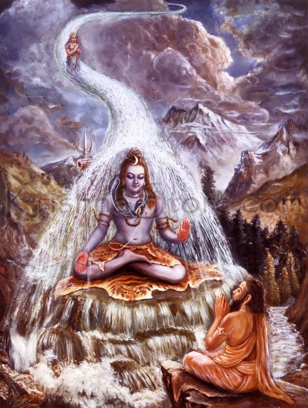 Lord Shiva taking Ganga on his head