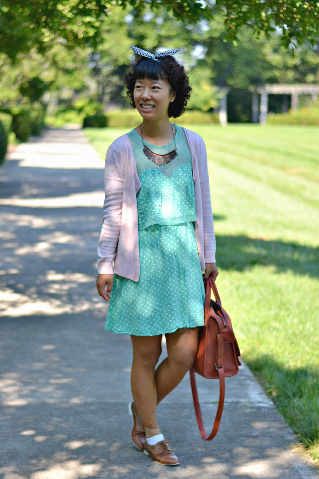 mint polkadot dress, dust pink cardi, wire headband