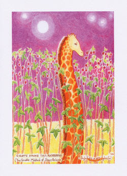 Giraffe Greeting Cards by UK Artist Ingrid Sylvestre - Giraffe Among Tall Raspberries