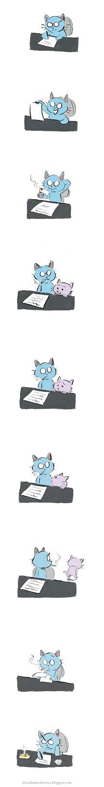 un chat écrivain cherche l'inspiration