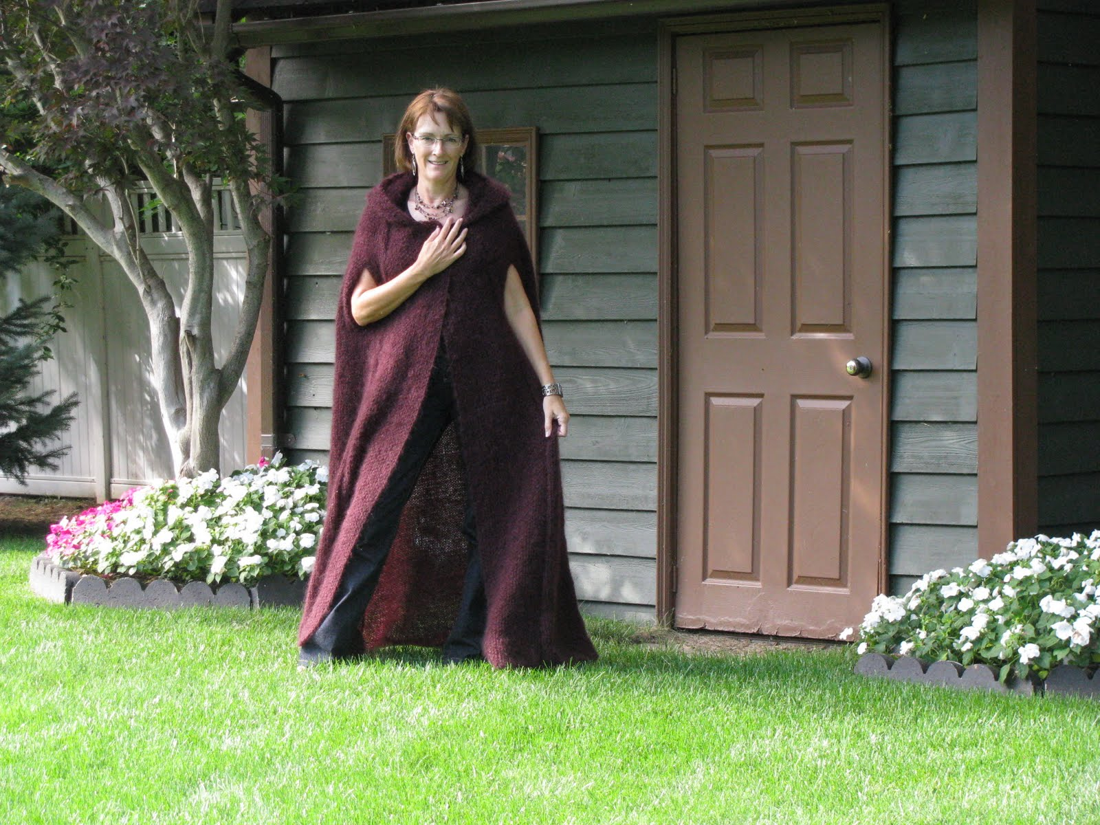 Knitting Pattern Cape Arm Slits : Chris Knits in Niagara: Merlot Hooded Cape