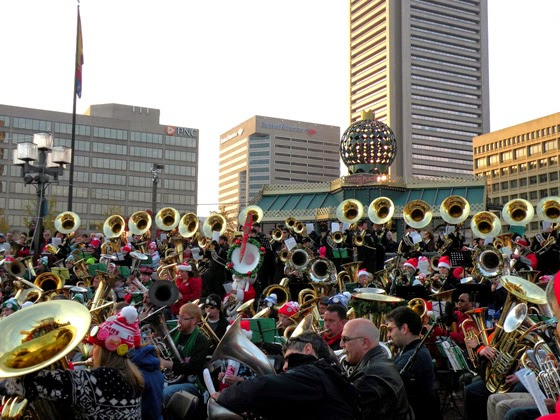 Tuba Christmas group playing in Baltimore