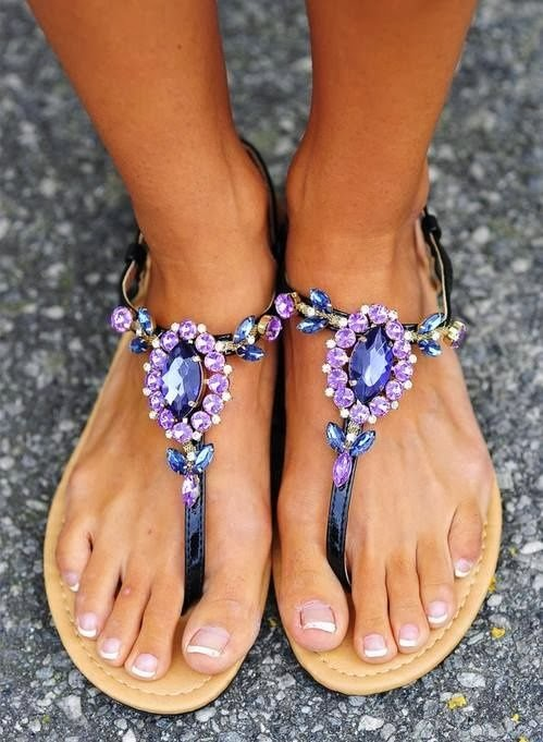 Gorgeous sparkling stones summer sandals fashion style