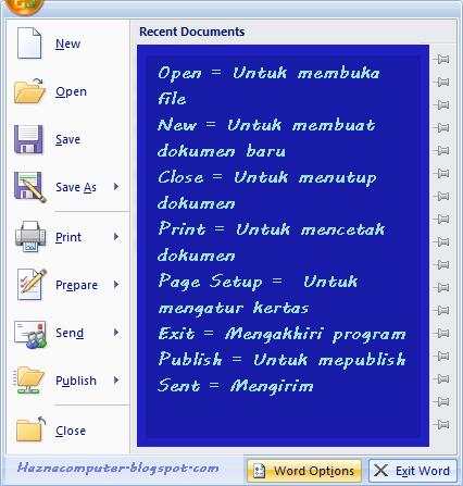 Fungsi Menu dan Ikon Microsoft Word 2007