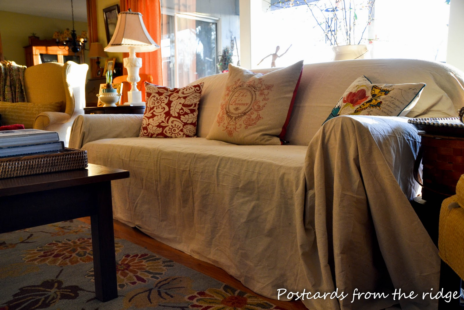 Quick cheap and easy sofa slipcover Postcards from the Ridge