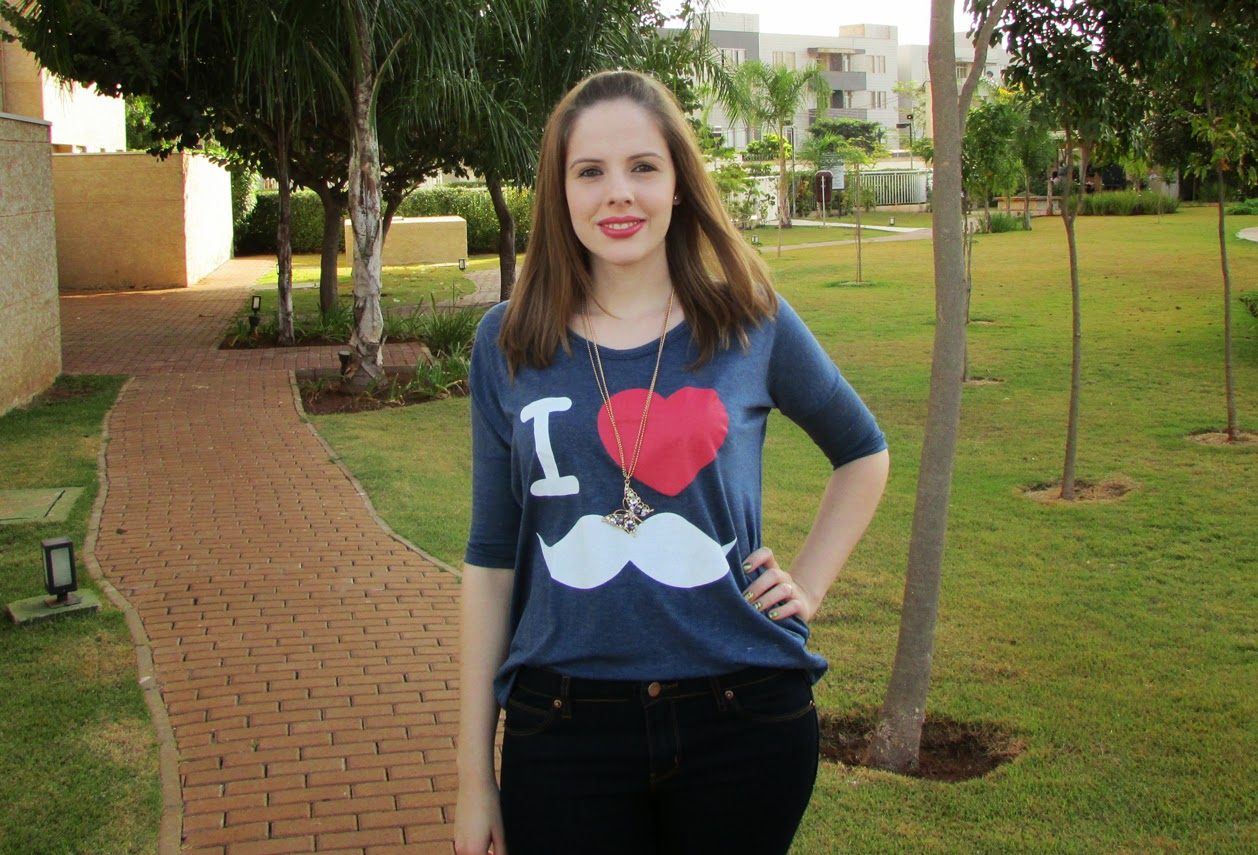 Look, Blusa 3/4, I Love Moustache, Aeroposter