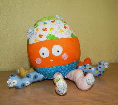 Muñecos patchwork, muñecos tela, pulpo, patchwork, regalos navidad