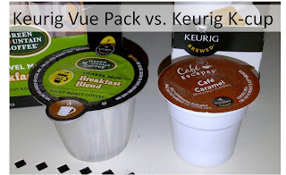 Shows larger Vue Pack next to K-cup