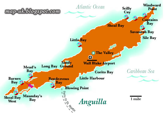 Map of UK Anguilla Map Political and Region Information