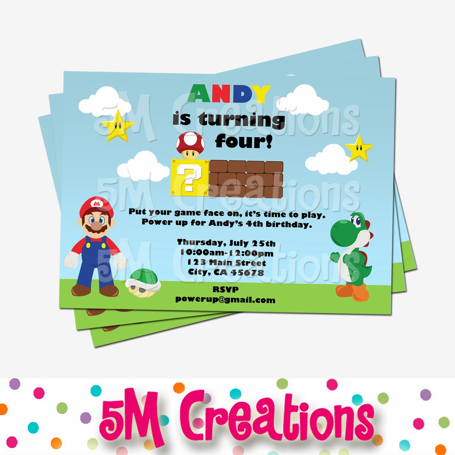 5m creations mario inspired birthday party mario party are available in our printable mario party packageinspired by your favorite characters we also have a fun printable mario invitation get powered up monicamarmolfo Gallery