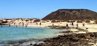 hermosa playa de islote de Lobos