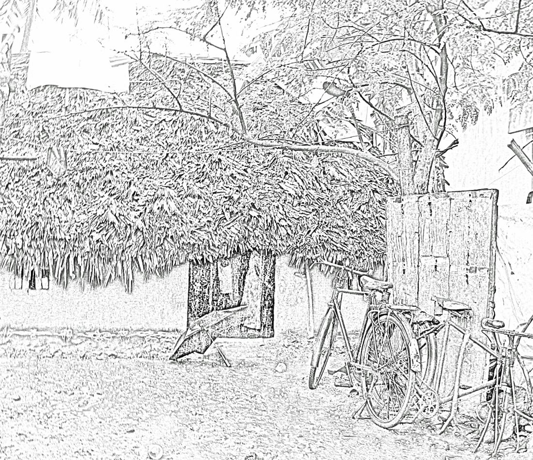 Stock Pictures: Sketches and drawings of thatched huts
