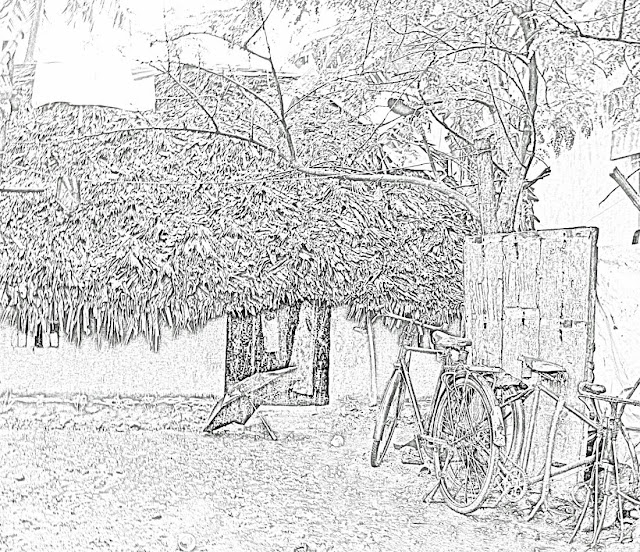 thatched hut sketch