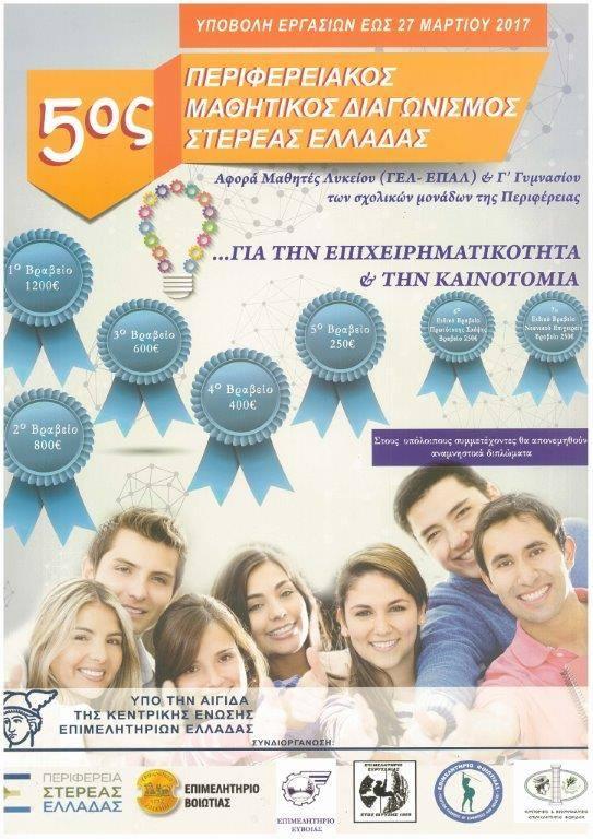 5ος Μαθητικός Διαγωνισμός Στερεάς Ελλάδας για την Επιχειρηματικότητα & την Καινοτομία