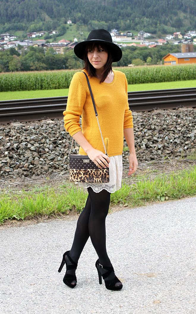 outfit trend fashionblogger senfgelb takko hm spitze highheels mango clutch leopard 03