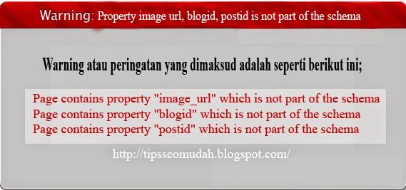 Property image url, blogid, postid is not part of the schema