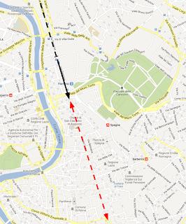 Via del Corso (rossa) e via Flaminia (nera)