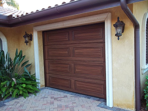Painting two garage doors to look like wood grain for Wood grain garage doors