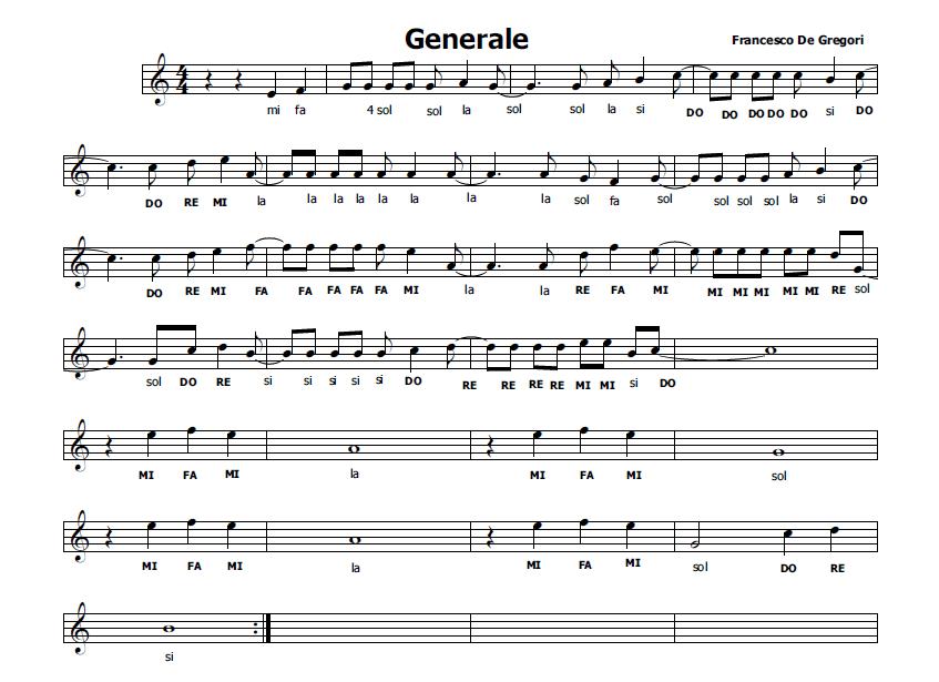 Estremamente Musica e spartiti gratis per flauto dolce: Generale di Francesco  BA27