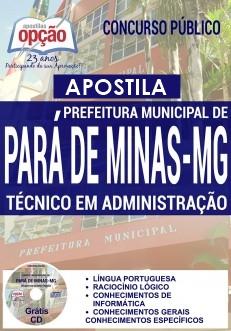 Apostila Pará de Minas 2017 Técnico em Administração