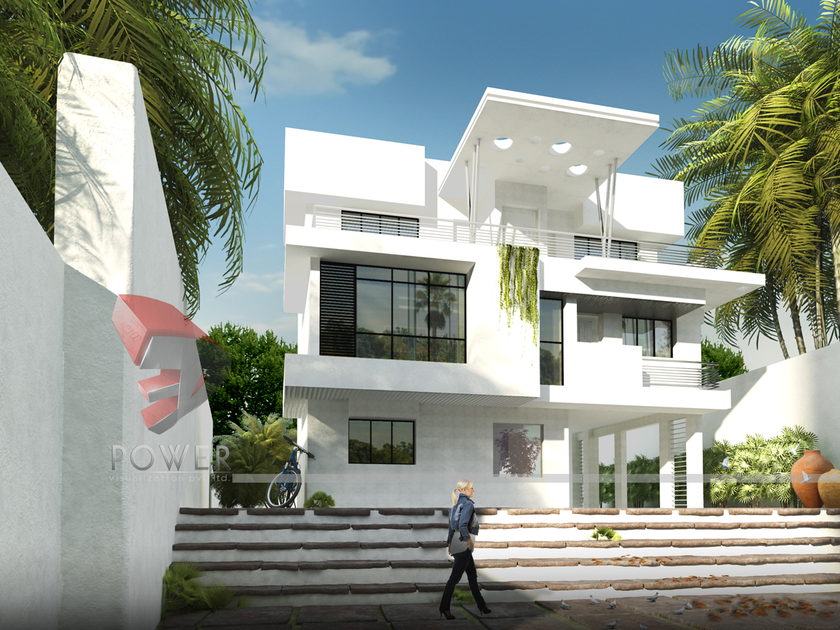 3d animation 3d rendering 3d walkthrough 3d interior for Plan of bungalow in india