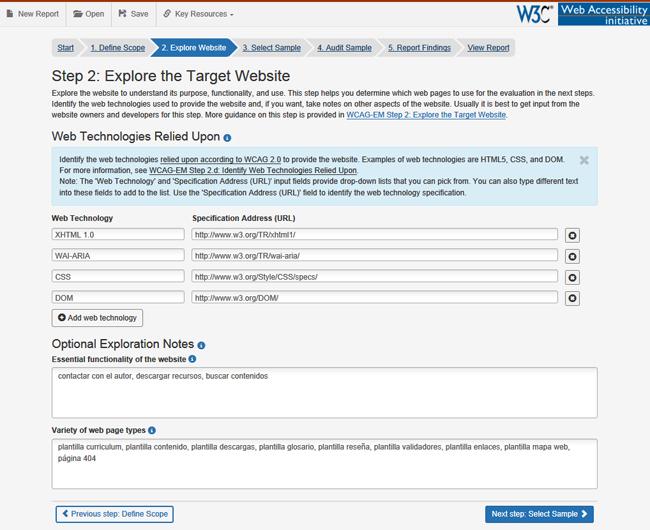 Pantalla del paso 2.Explore Website. Es un formulario con los campos rellenos y la ayuda de un campo desplegada.