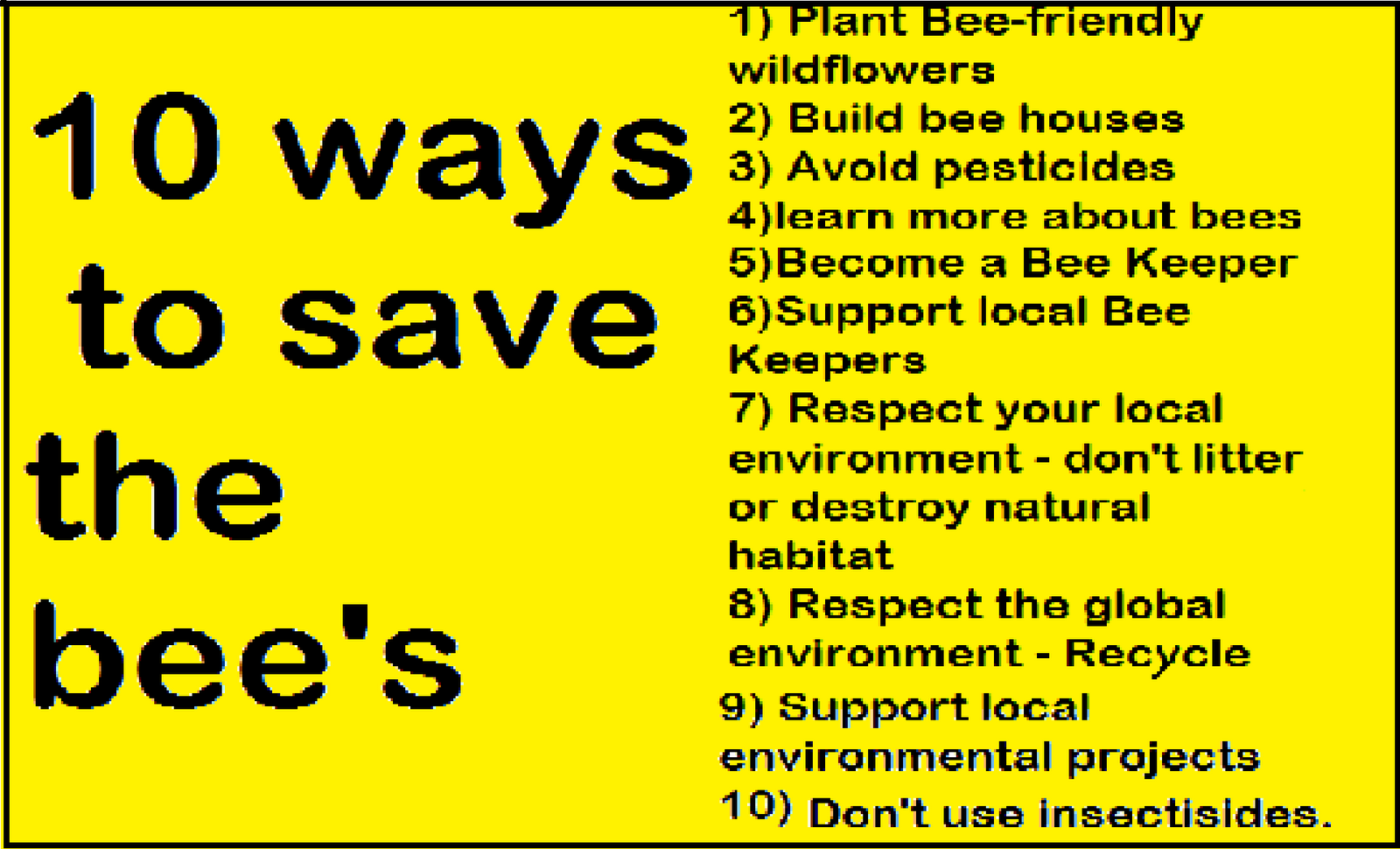 ... bees and the environment some of these things we will be doing via