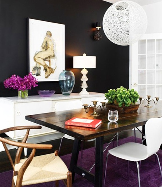 Black walls dining room design decor white furniture for Black dining room walls
