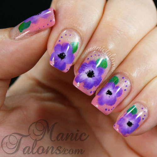 Purple One Stroke Flowers
