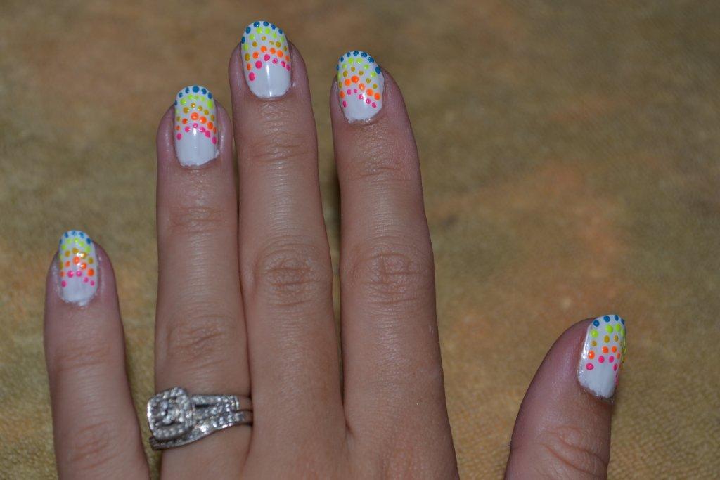 A Beauty-full Love Affair: Nail tutorial - rainbow dotted nails ...