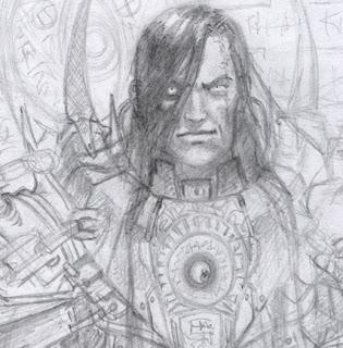 detalle del Dibujo o boceto para ilustración de personaje hecha por ªRU-MOR para el juego de fantasía y Cartas de ÉPICA. Edades Oscuras