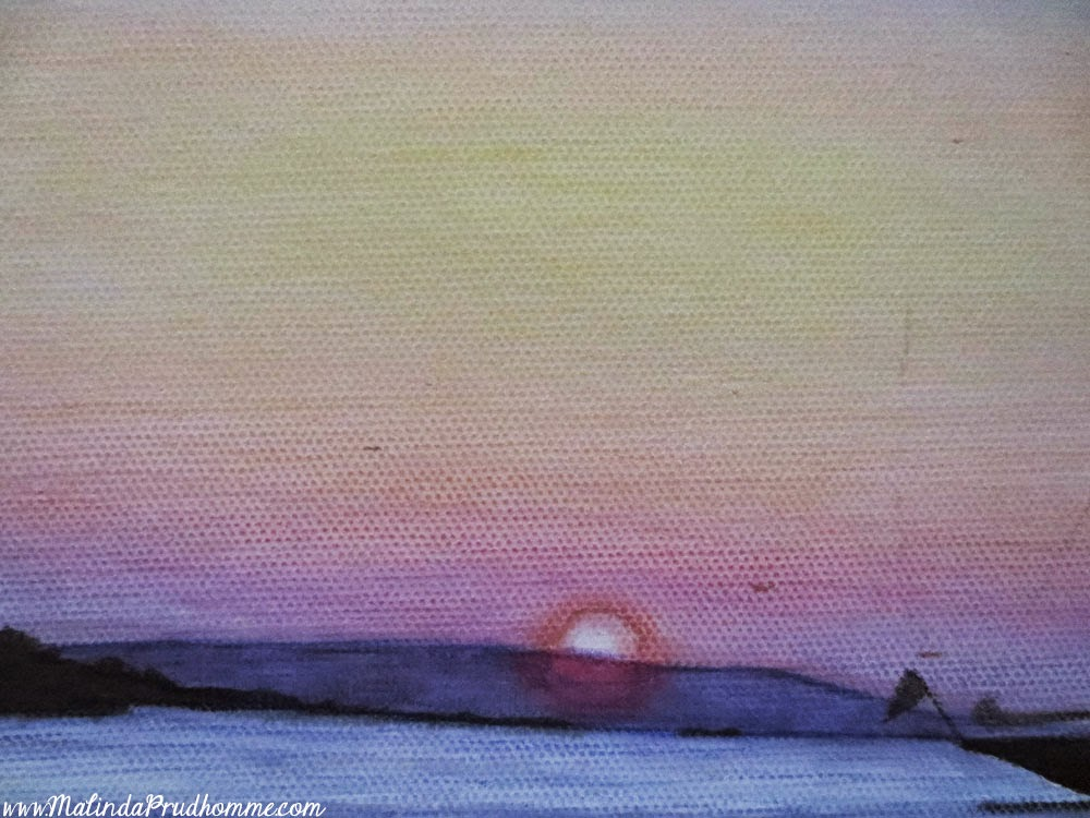 mykonos sunset, art, painting, mixed media art, mixed media painting, travel artist, travel art, travel artwork, greece, greek islands, malinda prudhomme, original artwork, Toronto Artist,