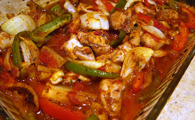 Baked Chicken Fajitas with onions, peppers and tomatoes