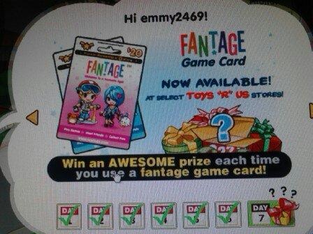 Fantage game card prizes