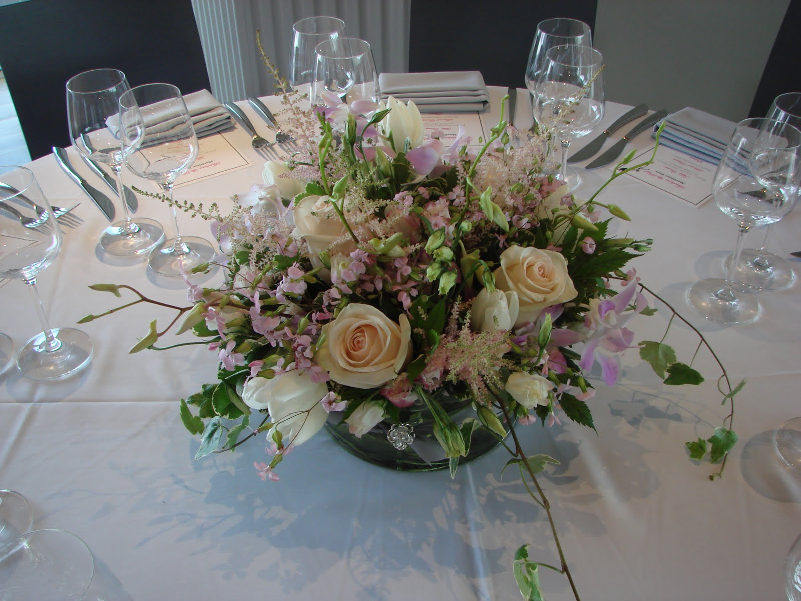 Gardenias light and airy floral centerpiece