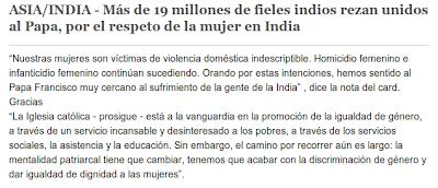 ASIA/INDIA - Más de 19 millones de fieles indios rezan unidos al Papa, por el respeto de la mujer en India
