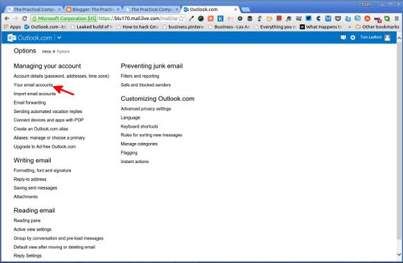 Outlook.com Options Menu