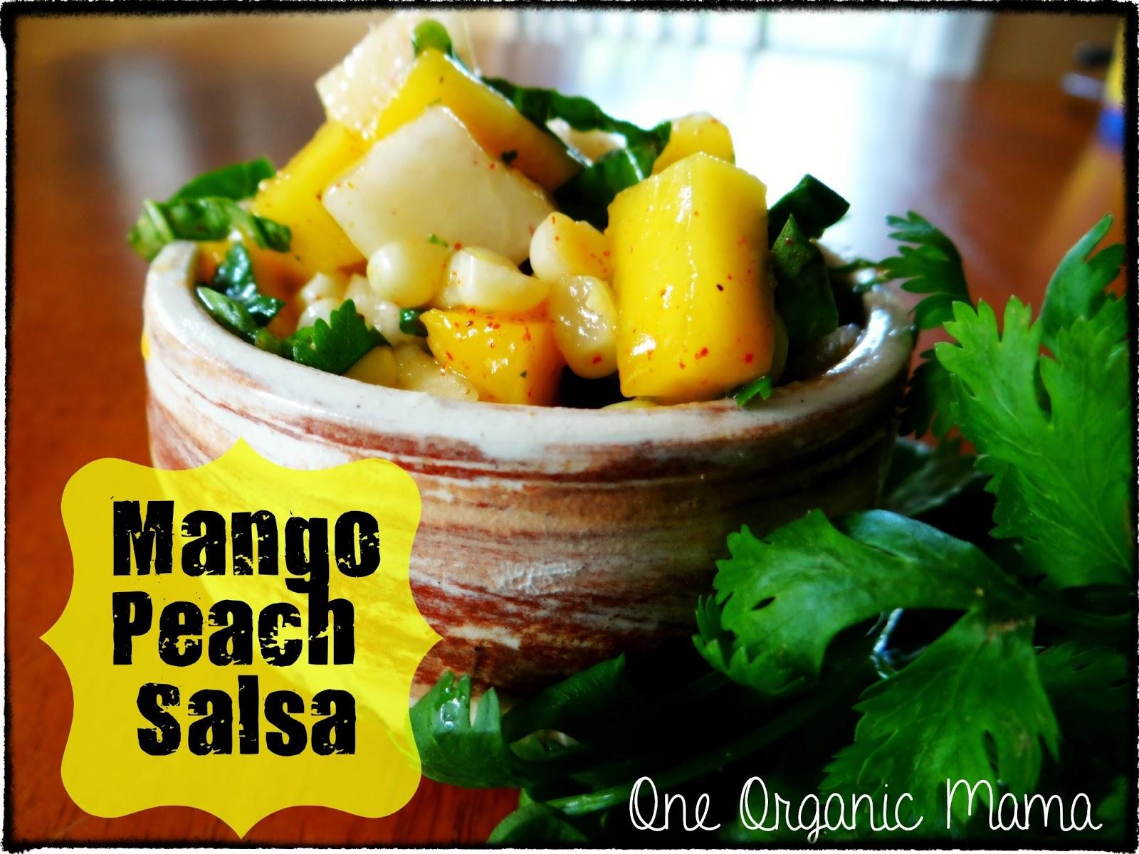 peach mango corn cilantro salsa