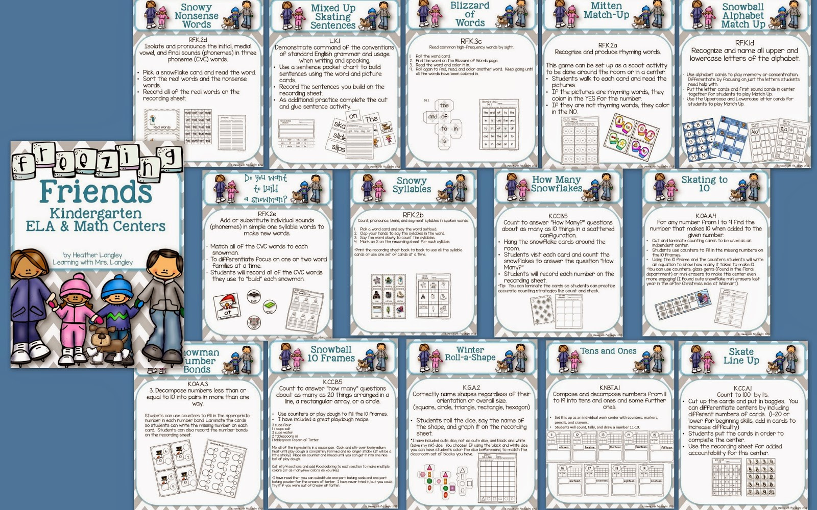 http://www.teacherspayteachers.com/Product/Freezing-Friends-ELA-and-Math-Centers-for-KINDERGARTEN-1654754
