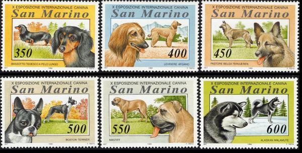 1994年サンマリノ共和国 ダックスフンド アフガン・ハウンド ベルジアン・シェパード ボストン・テリア マスティフ アラスカン・マラミュートの切手