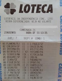 LOTECA 667 - 14 PONTOS DA VERINHA