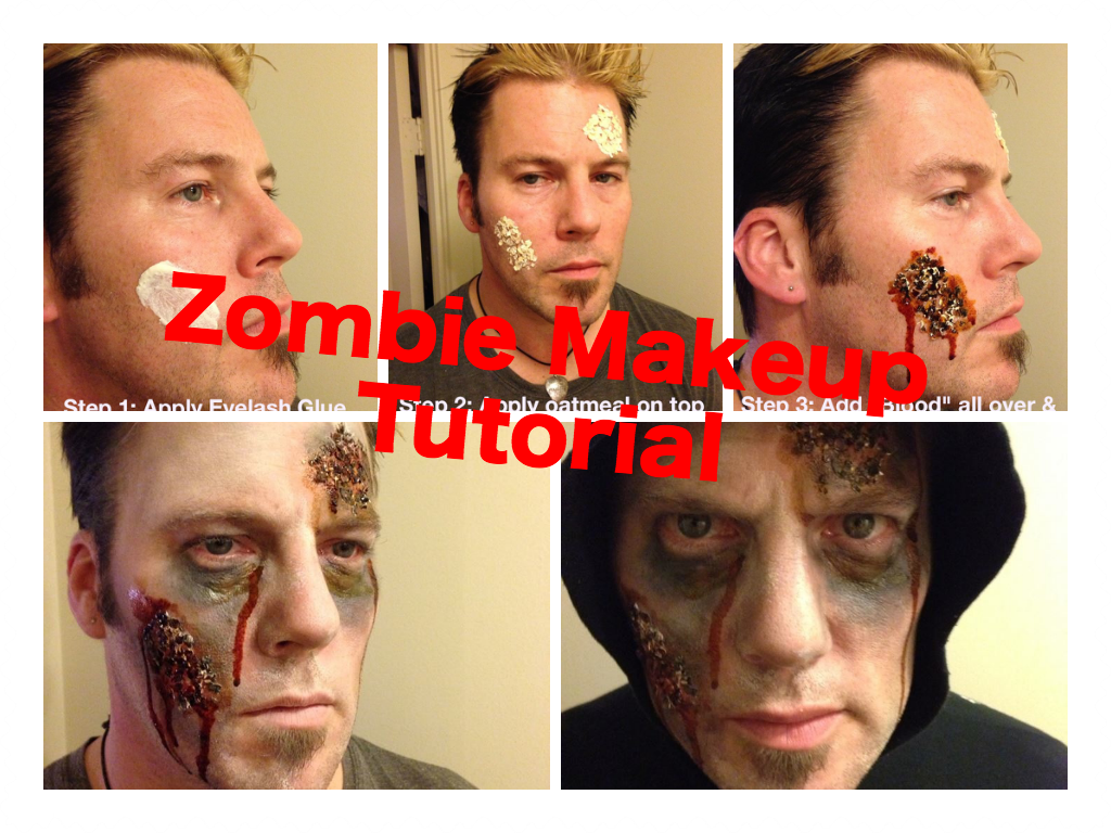 Halloween makeup tutorials costume ideas and party planning the last minute halloween idea 4 step bloody zombie makeup using oatmeal glue baditri Choice Image