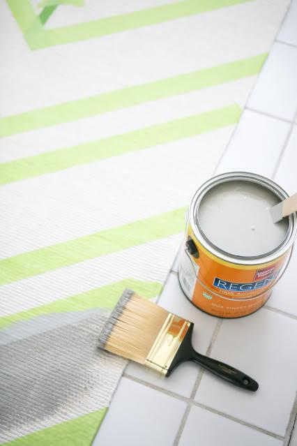 Ikea hack alfombra estilo chevron - Alfombra plastico ikea ...